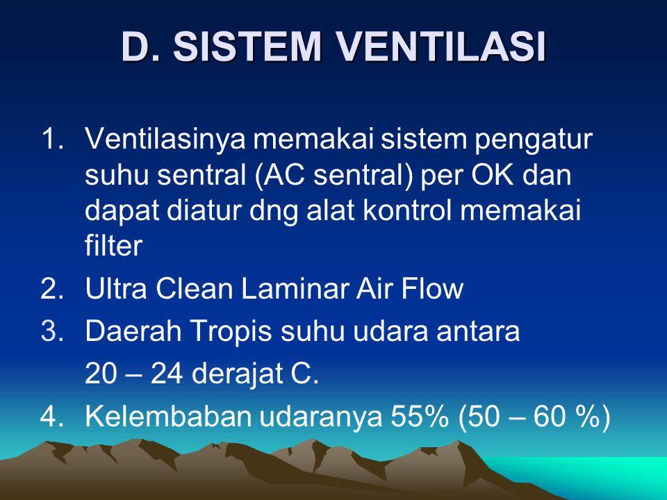 D. SISTEM VENTILASI 1.Ventilasinya memakai sistem pengatur suhu sentral (AC sentral) per OK dan dapat diatur dng alat kontrol memakai filter 2.Ultra C