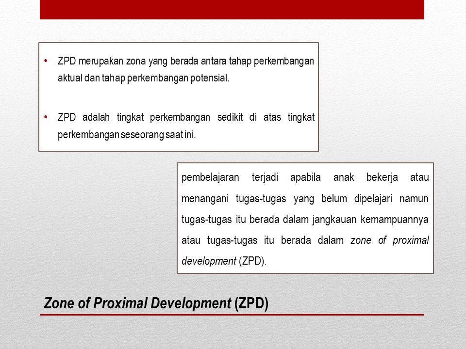 Zone of Proximal Development (ZPD) ZPD merupakan zona yang berada antara tahap perkembangan aktual dan tahap perkembangan potensial. ZPD adalah tingka