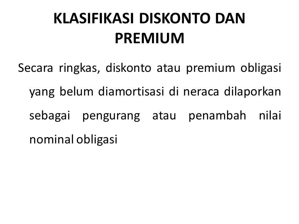 KLASIFIKASI DISKONTO DAN PREMIUM Secara ringkas, diskonto atau premium obligasi yang belum diamortisasi di neraca dilaporkan sebagai pengurang atau penambah nilai nominal obligasi