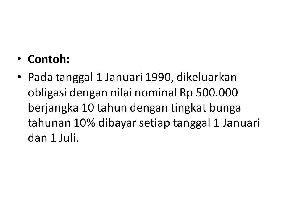 Contoh: Pada tanggal 1 Januari 1990, dikeluarkan obligasi dengan nilai nominal Rp 500.000 berjangka 10 tahun dengan tingkat bunga tahunan 10% dibayar
