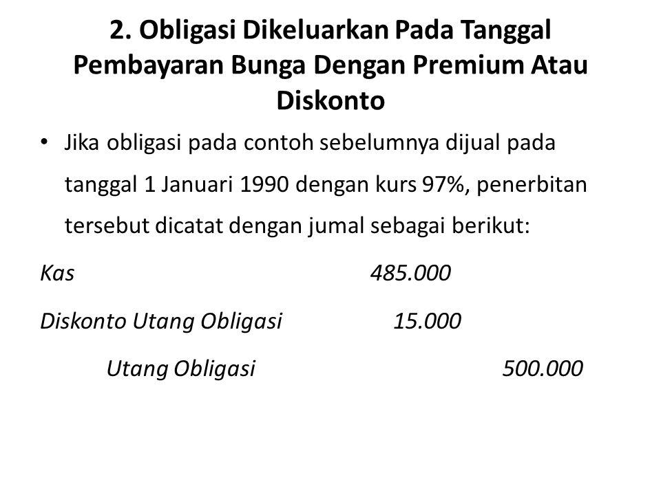 2. Obligasi Dikeluarkan Pada Tanggal Pembayaran Bunga Dengan Premium Atau Diskonto Jika obligasi pada contoh sebelumnya dijual pada tanggal 1 Januari