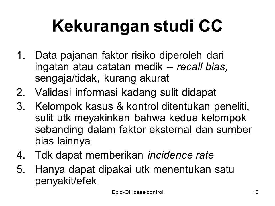 Epid-OH case control10 Kekurangan studi CC 1.Data pajanan faktor risiko diperoleh dari ingatan atau catatan medik -- recall bias, sengaja/tidak, kuran