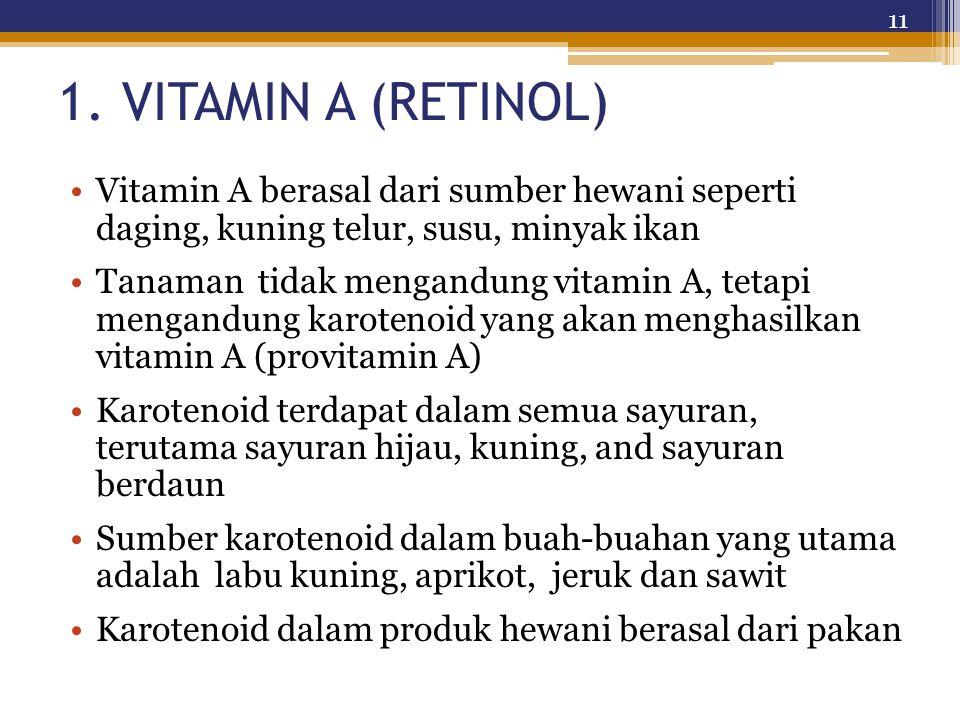 1. VITAMIN A (RETINOL) Vitamin A berasal dari sumber hewani seperti daging, kuning telur, susu, minyak ikan Tanaman tidak mengandung vitamin A, tetapi