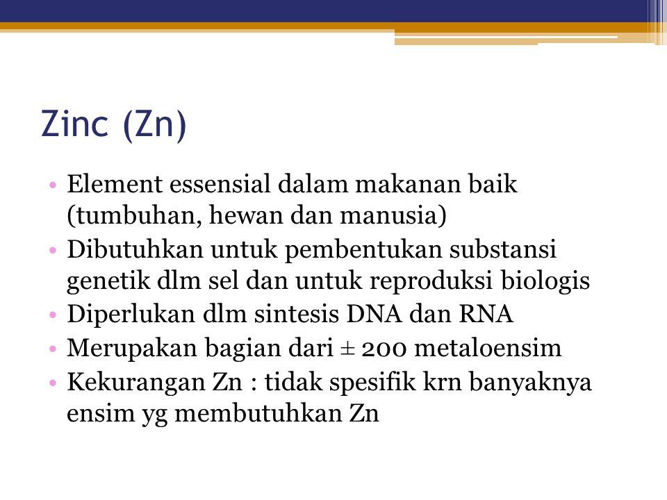 Zinc (Zn) Element essensial dalam makanan baik (tumbuhan, hewan dan manusia) Dibutuhkan untuk pembentukan substansi genetik dlm sel dan untuk reproduk