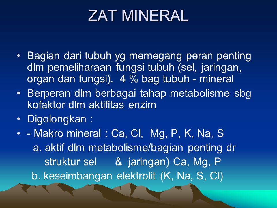 ZAT MINERAL Bagian dari tubuh yg memegang peran penting dlm pemeliharaan fungsi tubuh (sel, jaringan, organ dan fungsi).