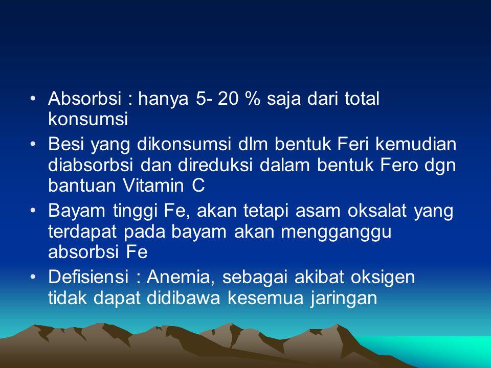 Absorbsi : hanya 5- 20 % saja dari total konsumsi Besi yang dikonsumsi dlm bentuk Feri kemudian diabsorbsi dan direduksi dalam bentuk Fero dgn bantuan Vitamin C Bayam tinggi Fe, akan tetapi asam oksalat yang terdapat pada bayam akan mengganggu absorbsi Fe Defisiensi : Anemia, sebagai akibat oksigen tidak dapat didibawa kesemua jaringan