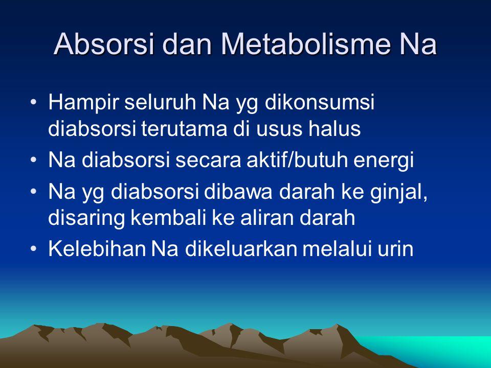 Absorsi dan Metabolisme Na Hampir seluruh Na yg dikonsumsi diabsorsi terutama di usus halus Na diabsorsi secara aktif/butuh energi Na yg diabsorsi dibawa darah ke ginjal, disaring kembali ke aliran darah Kelebihan Na dikeluarkan melalui urin