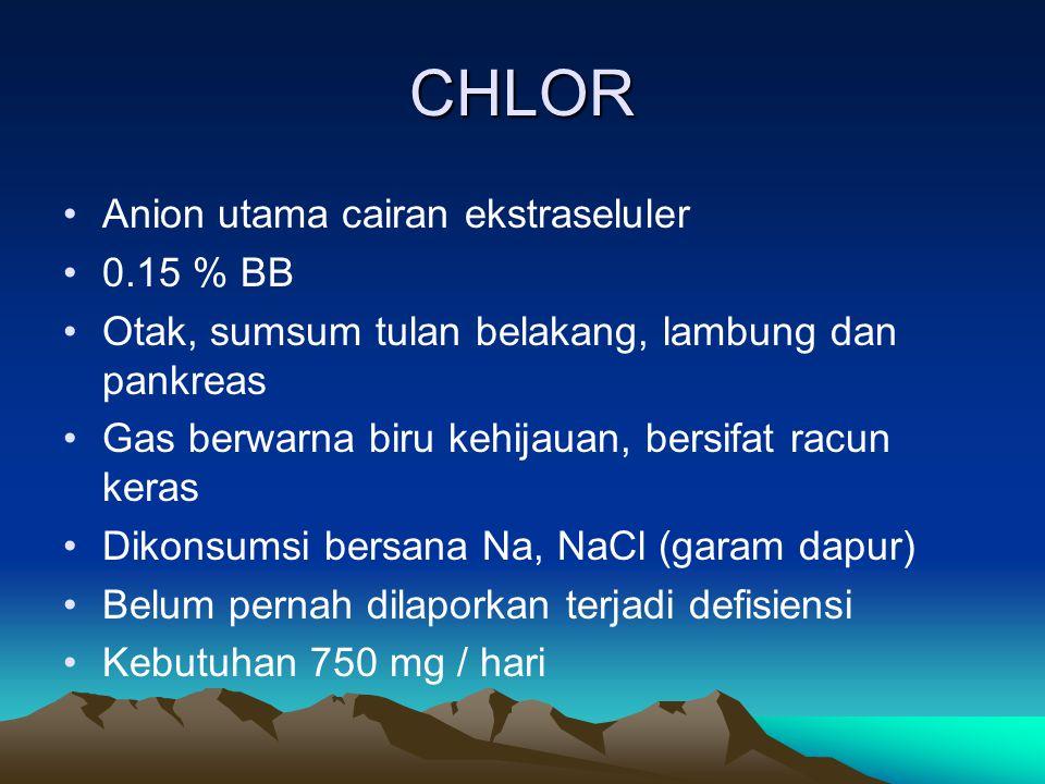 CHLOR Anion utama cairan ekstraseluler 0.15 % BB Otak, sumsum tulan belakang, lambung dan pankreas Gas berwarna biru kehijauan, bersifat racun keras Dikonsumsi bersana Na, NaCl (garam dapur) Belum pernah dilaporkan terjadi defisiensi Kebutuhan 750 mg / hari