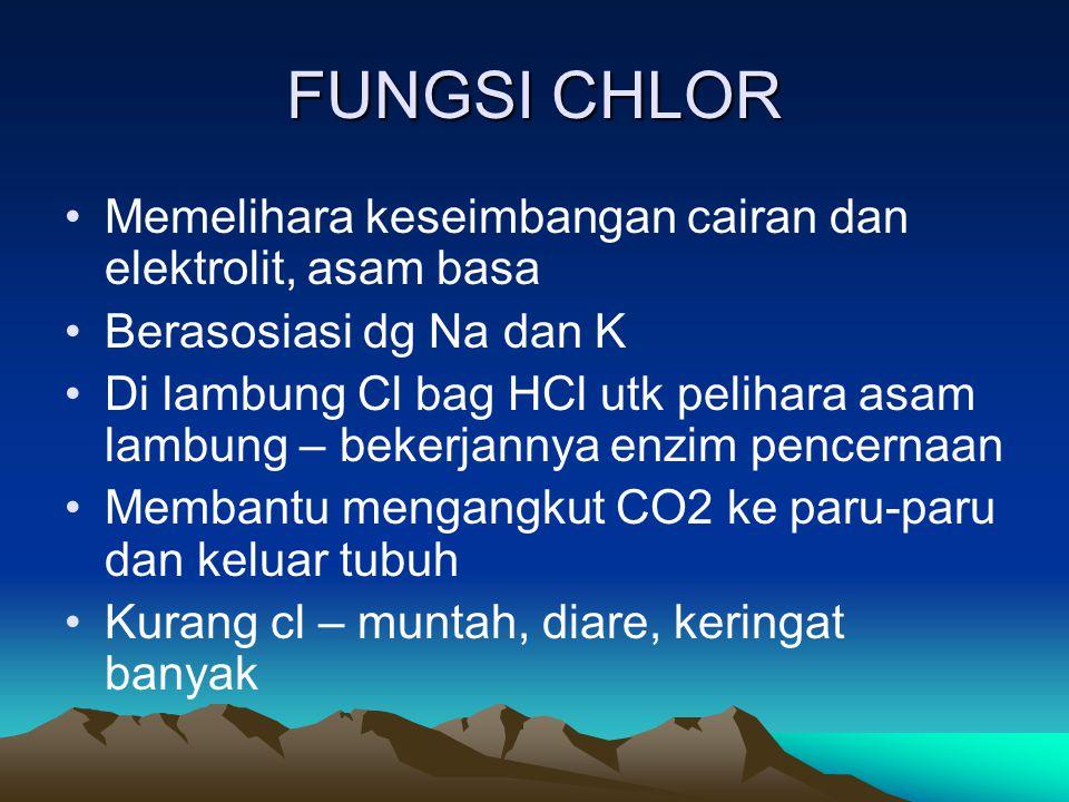 FUNGSI CHLOR Memelihara keseimbangan cairan dan elektrolit, asam basa Berasosiasi dg Na dan K Di lambung Cl bag HCl utk pelihara asam lambung – bekerjannya enzim pencernaan Membantu mengangkut CO2 ke paru-paru dan keluar tubuh Kurang cl – muntah, diare, keringat banyak