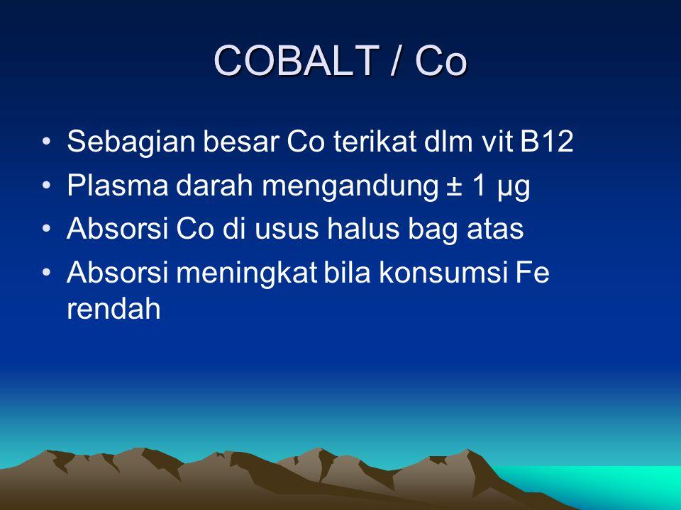 COBALT / Co Sebagian besar Co terikat dlm vit B12 Plasma darah mengandung ± 1 µg Absorsi Co di usus halus bag atas Absorsi meningkat bila konsumsi Fe rendah