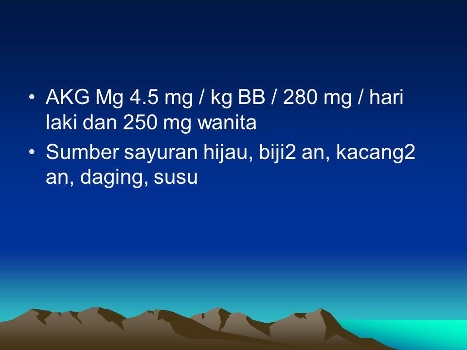 AKG Mg 4.5 mg / kg BB / 280 mg / hari laki dan 250 mg wanita Sumber sayuran hijau, biji2 an, kacang2 an, daging, susu