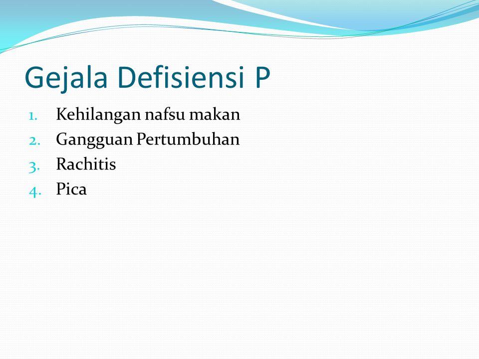 Gejala Defisiensi P 1. Kehilangan nafsu makan 2. Gangguan Pertumbuhan 3. Rachitis 4. Pica