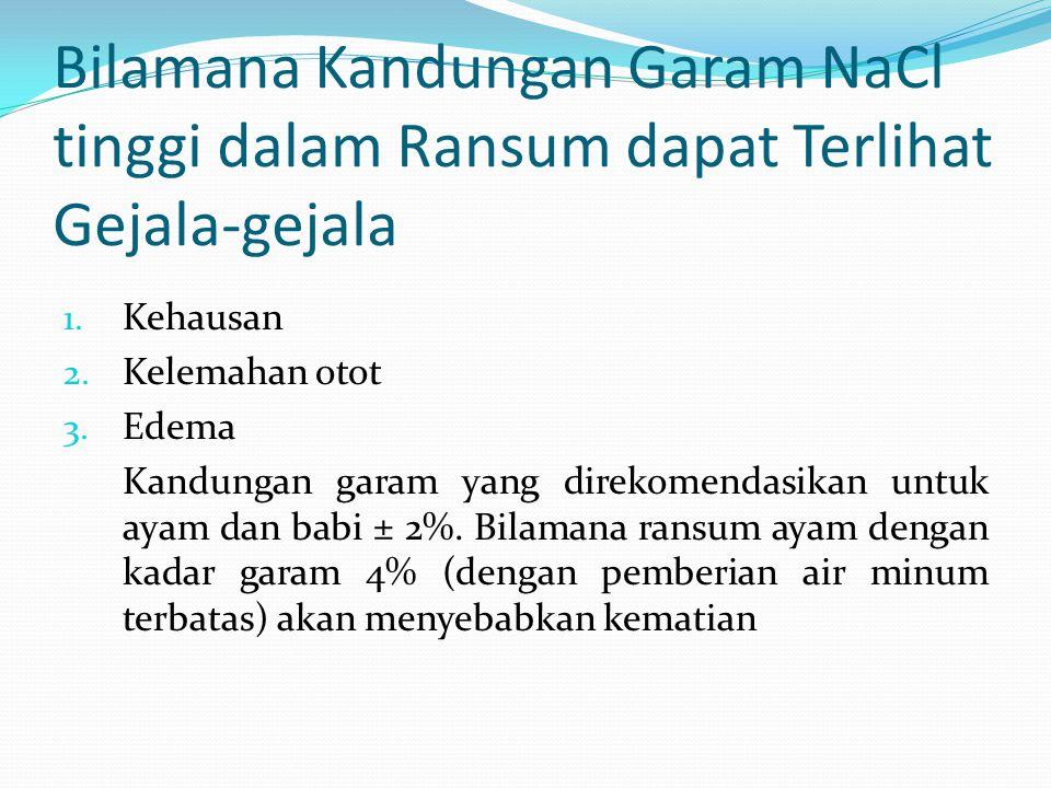 Bilamana Kandungan Garam NaCl tinggi dalam Ransum dapat Terlihat Gejala-gejala 1.