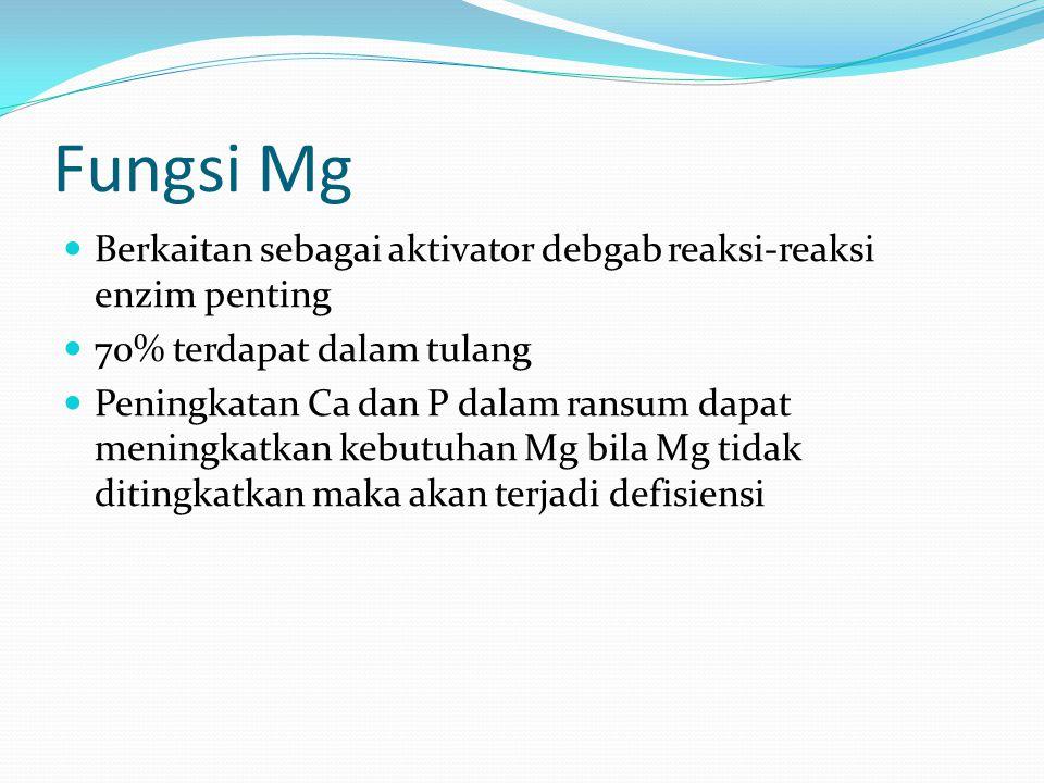 Fungsi Mg Berkaitan sebagai aktivator debgab reaksi-reaksi enzim penting 70% terdapat dalam tulang Peningkatan Ca dan P dalam ransum dapat meningkatkan kebutuhan Mg bila Mg tidak ditingkatkan maka akan terjadi defisiensi