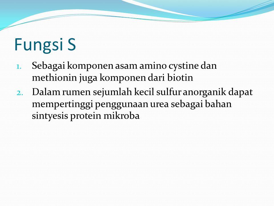 Fungsi S 1.Sebagai komponen asam amino cystine dan methionin juga komponen dari biotin 2.