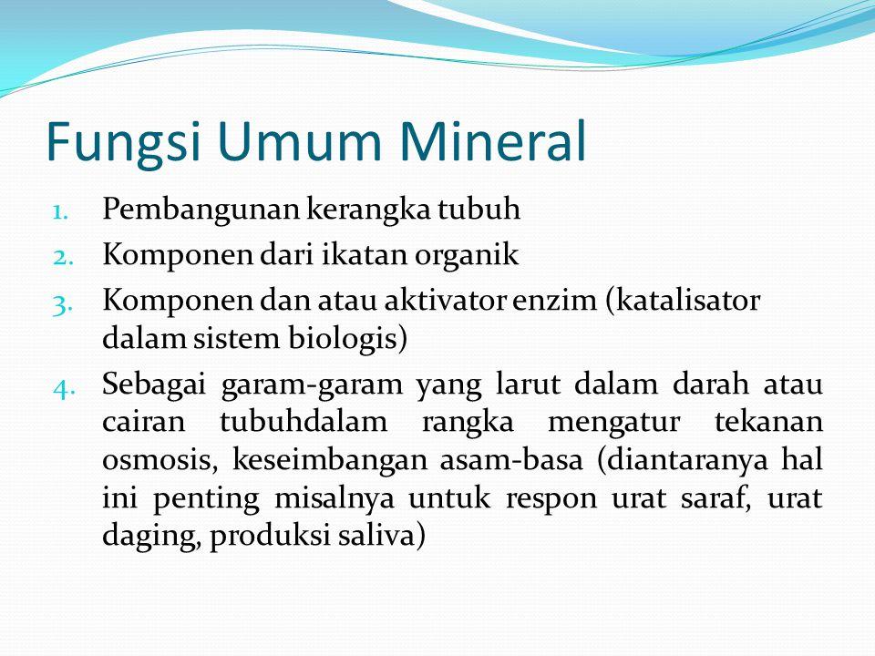 Fungsi Umum Mineral 1.Pembangunan kerangka tubuh 2.
