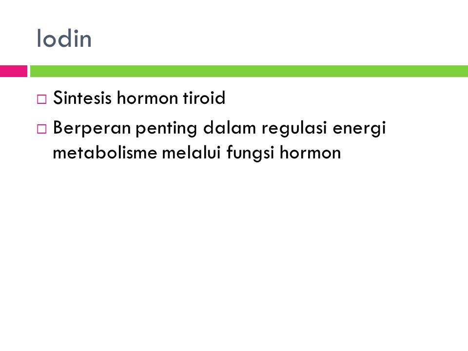 Iodin  Sintesis hormon tiroid  Berperan penting dalam regulasi energi metabolisme melalui fungsi hormon