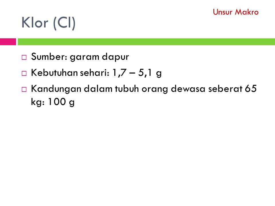 Klor (Cl)  Sumber: garam dapur  Kebutuhan sehari: 1,7 – 5,1 g  Kandungan dalam tubuh orang dewasa seberat 65 kg: 100 g Unsur Makro