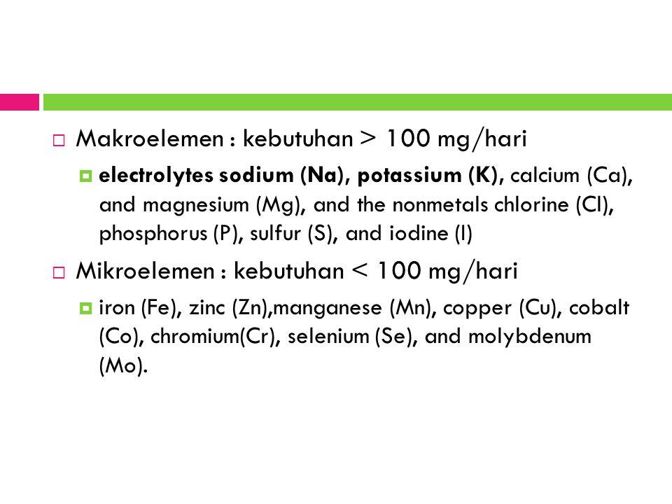  Makroelemen : kebutuhan > 100 mg/hari  electrolytes sodium (Na), potassium (K), calcium (Ca), and magnesium (Mg), and the nonmetals chlorine (Cl), phosphorus (P), sulfur (S), and iodine (I)  Mikroelemen : kebutuhan < 100 mg/hari  iron (Fe), zinc (Zn),manganese (Mn), copper (Cu), cobalt (Co), chromium(Cr), selenium (Se), and molybdenum (Mo).