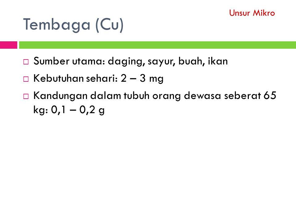 Tembaga (Cu)  Sumber utama: daging, sayur, buah, ikan  Kebutuhan sehari: 2 – 3 mg  Kandungan dalam tubuh orang dewasa seberat 65 kg: 0,1 – 0,2 g Unsur Mikro