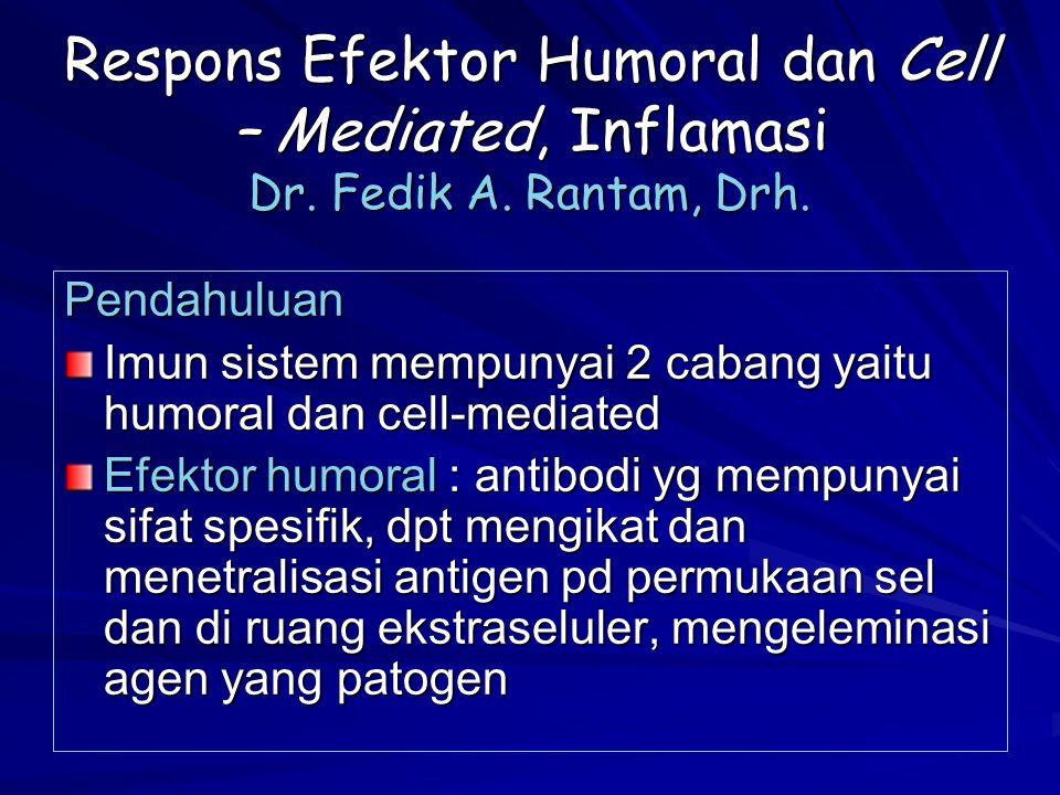 Respons Efektor Humoral dan Cell – Mediated, Inflamasi Dr. Fedik A. Rantam, Drh. Pendahuluan Imun sistem mempunyai 2 cabang yaitu humoral dan cell-med