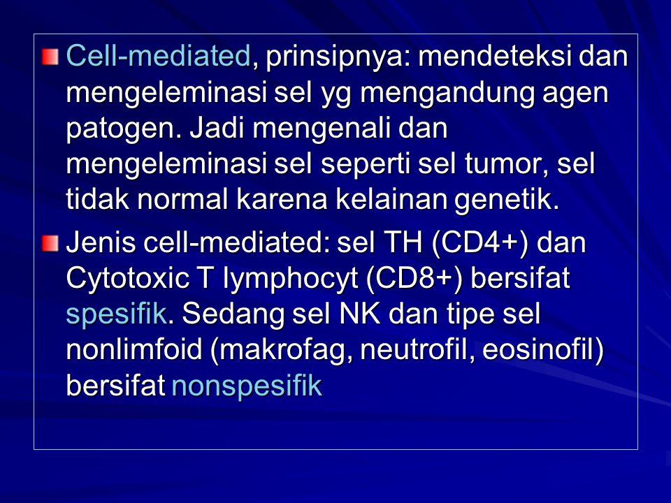 Cell-mediated, prinsipnya: mendeteksi dan mengeleminasi sel yg mengandung agen patogen. Jadi mengenali dan mengeleminasi sel seperti sel tumor, sel ti