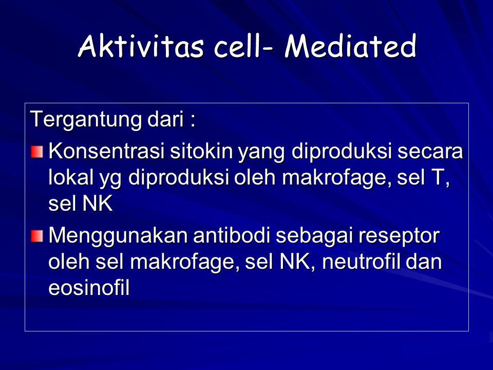 Aktivitas cell- Mediated Tergantung dari : Konsentrasi sitokin yang diproduksi secara lokal yg diproduksi oleh makrofage, sel T, sel NK Menggunakan an