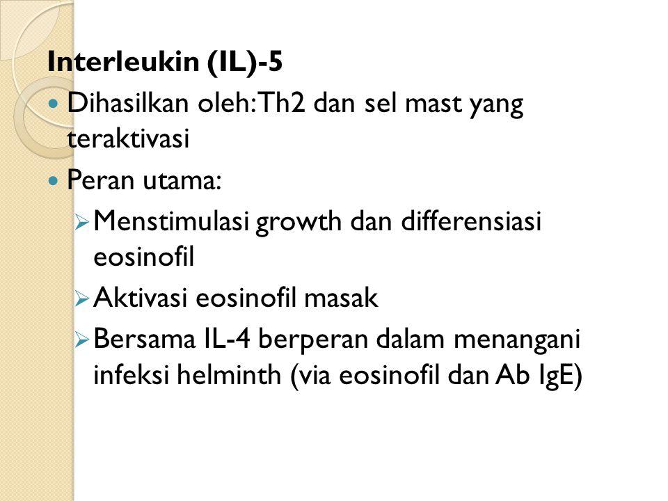 Interleukin (IL)-5 Dihasilkan oleh: Th2 dan sel mast yang teraktivasi Peran utama:  Menstimulasi growth dan differensiasi eosinofil  Aktivasi eosinofil masak  Bersama IL-4 berperan dalam menangani infeksi helminth (via eosinofil dan Ab IgE)