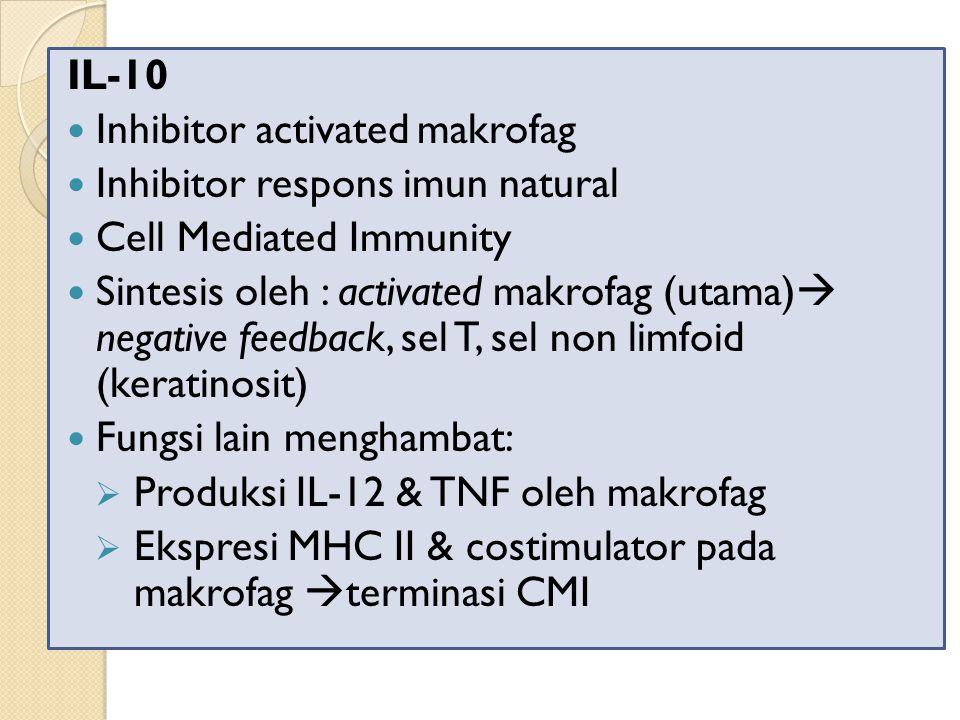 IL-10 Inhibitor activated makrofag Inhibitor respons imun natural Cell Mediated Immunity Sintesis oleh : activated makrofag (utama)  negative feedback, sel T, sel non limfoid (keratinosit) Fungsi lain menghambat:  Produksi IL-12 & TNF oleh makrofag  Ekspresi MHC II & costimulator pada makrofag  terminasi CMI