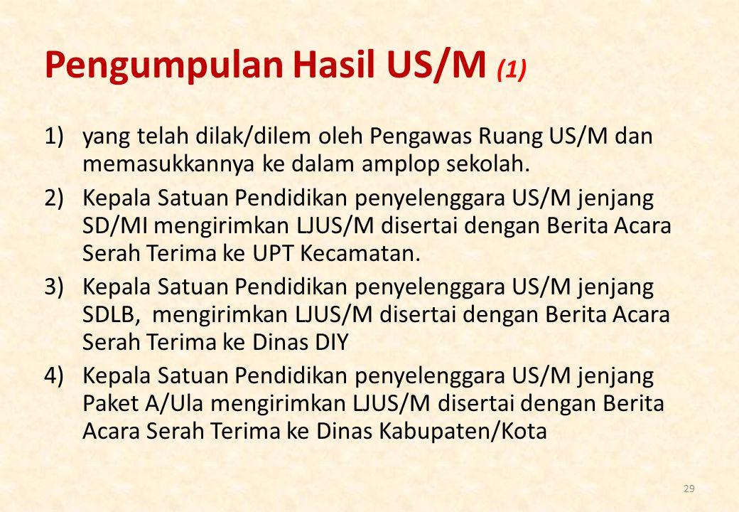 Pengumpulan Hasil US/M (1) 1)yang telah dilak/dilem oleh Pengawas Ruang US/M dan memasukkannya ke dalam amplop sekolah.