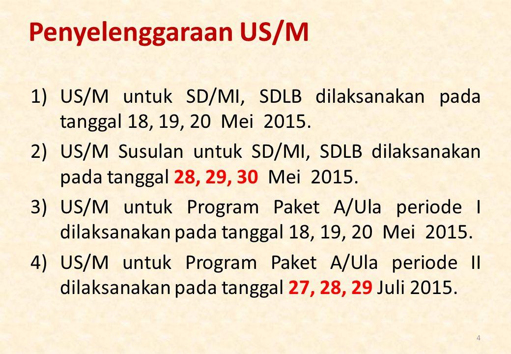 Penyelenggaraan US/M 1)US/M untuk SD/MI, SDLB dilaksanakan pada tanggal 18, 19, 20 Mei 2015. 2)US/M Susulan untuk SD/MI, SDLB dilaksanakan pada tangga