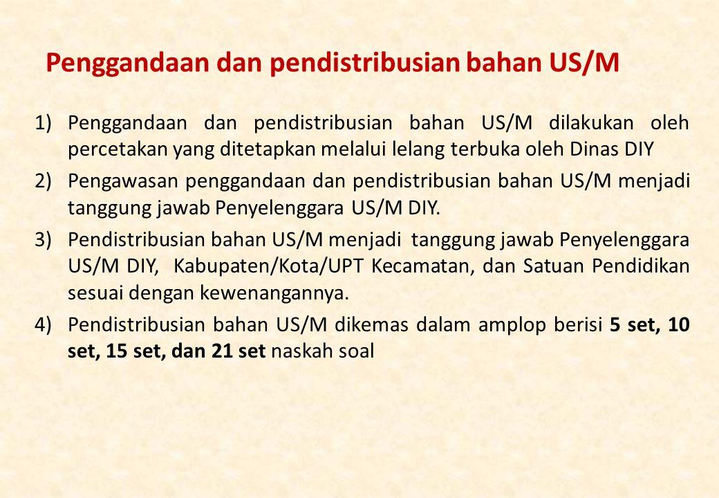Penggandaan dan pendistribusian bahan US/M 1)Penggandaan dan pendistribusian bahan US/M dilakukan oleh percetakan yang ditetapkan melalui lelang terbuka oleh Dinas DIY 2)Pengawasan penggandaan dan pendistribusian bahan US/M menjadi tanggung jawab Penyelenggara US/M DIY.