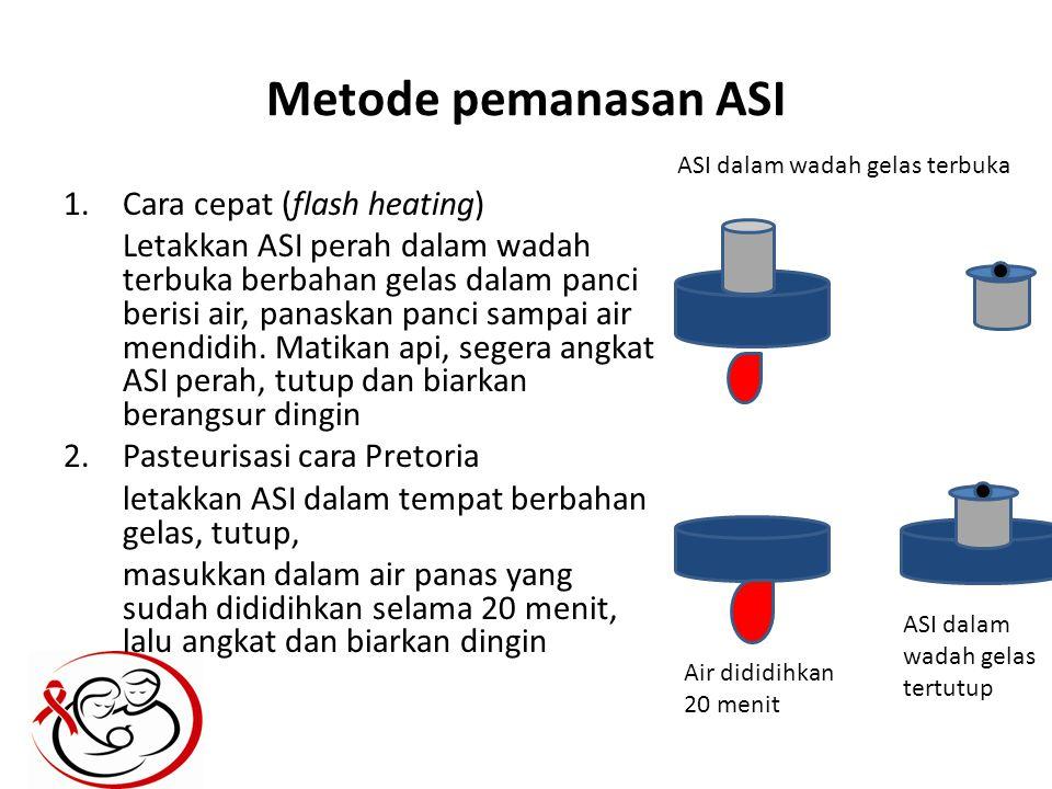Metode pemanasan ASI 1.Cara cepat (flash heating) Letakkan ASI perah dalam wadah terbuka berbahan gelas dalam panci berisi air, panaskan panci sampai