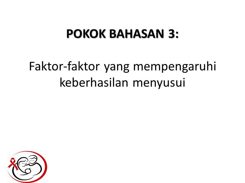 POKOK BAHASAN 3: POKOK BAHASAN 3: Faktor-faktor yang mempengaruhi keberhasilan menyusui
