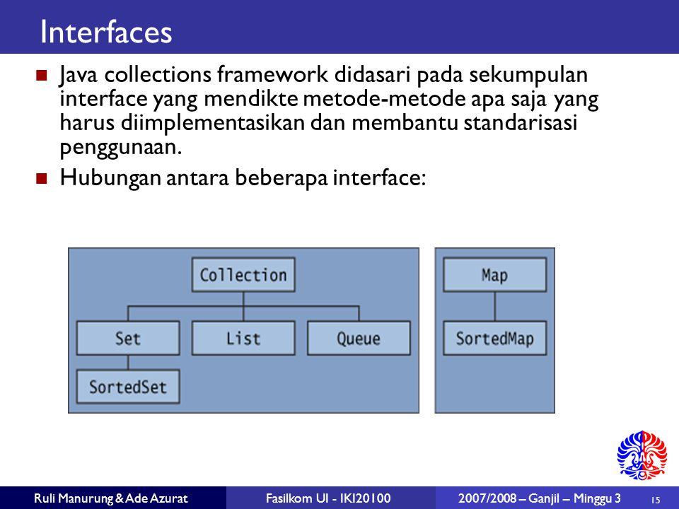 15 Ruli Manurung & Ade AzuratFasilkom UI - IKI20100 2007/2008 – Ganjil – Minggu 3 Interfaces Java collections framework didasari pada sekumpulan interface yang mendikte metode-metode apa saja yang harus diimplementasikan dan membantu standarisasi penggunaan.
