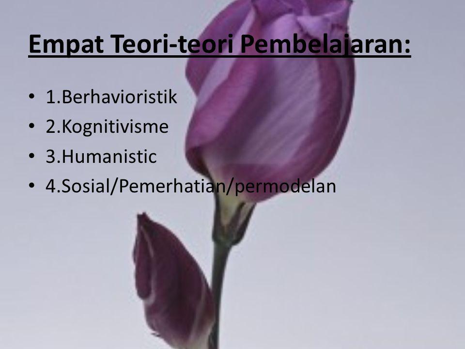Empat Teori-teori Pembelajaran: 1.Berhavioristik 2.Kognitivisme 3.Humanistic 4.Sosial/Pemerhatian/permodelan