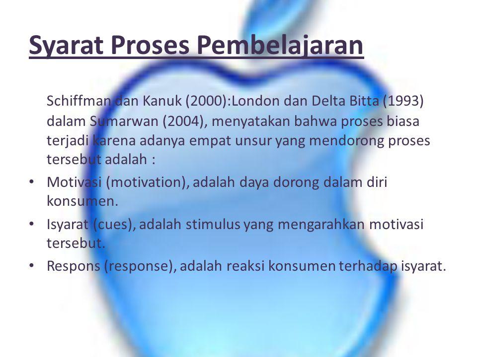 Syarat Proses Pembelajaran Schiffman dan Kanuk (2000):London dan Delta Bitta (1993) dalam Sumarwan (2004), menyatakan bahwa proses biasa terjadi karen