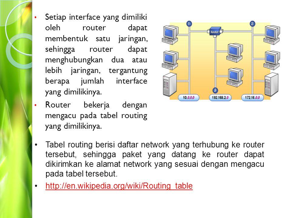 Router adalah perangkat yang dapat menggabungkan dua atau lebih network menjadi sebuah internetwork.