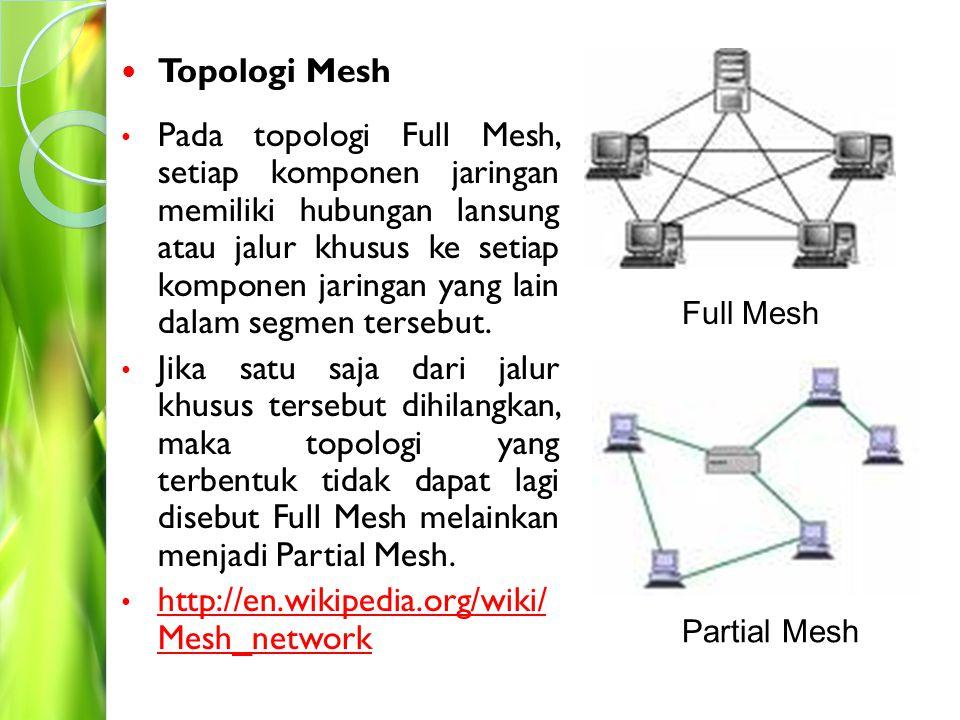 Topologi Star Pada topologi Star, setiap komponen jaringan terhubung ke sebuah perangkat jaringan (hub, switch, router) yang menjadi pusat dari topologi sehingga membentuk sebuah segmen jaringan.