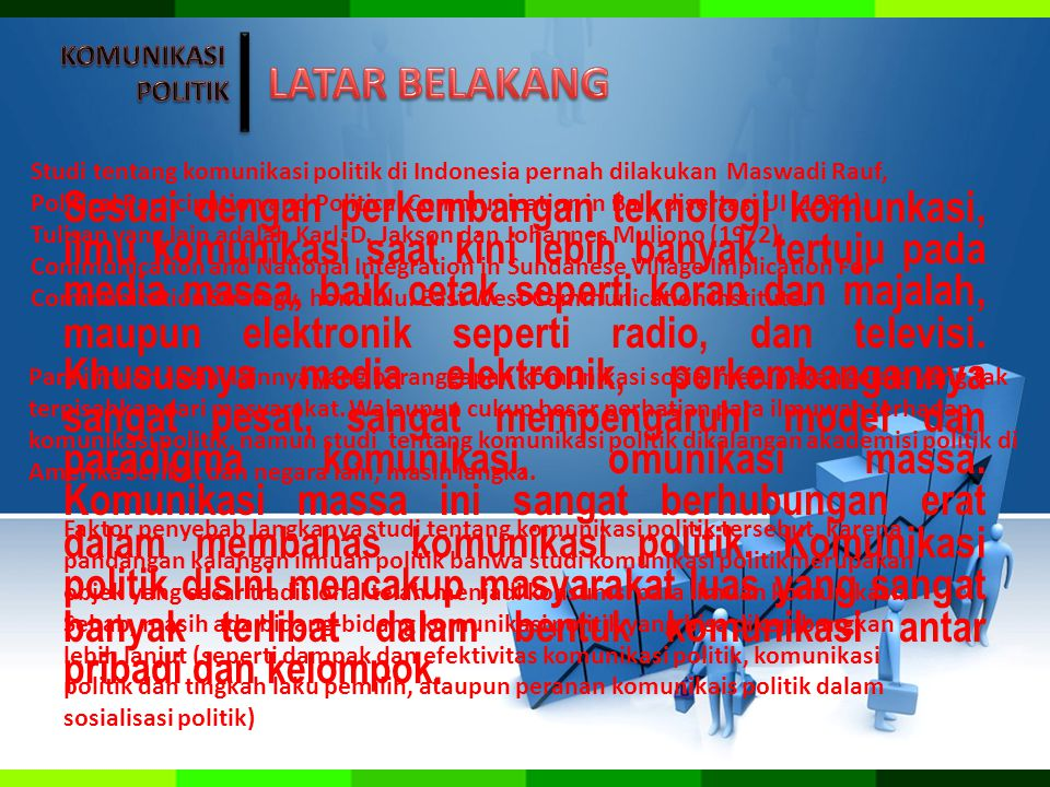 Studi tentang komunikasi politik di Indonesia pernah dilakukan Maswadi Rauf, Political Participation and Political Communication in Bali, disertasi UI (1981).