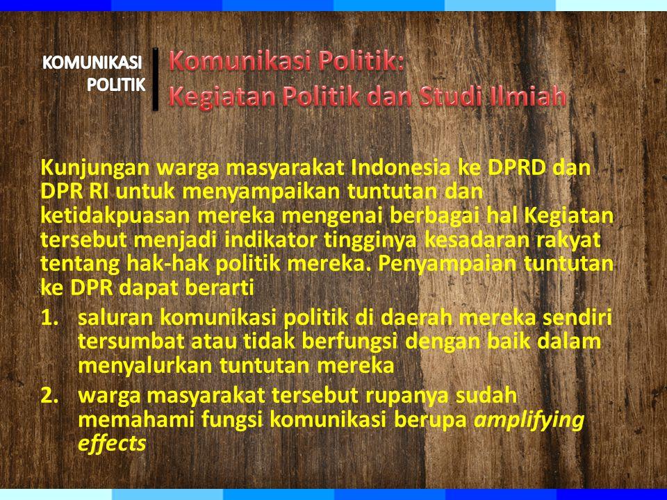 Kunjungan warga masyarakat Indonesia ke DPRD dan DPR RI untuk menyampaikan tuntutan dan ketidakpuasan mereka mengenai berbagai hal Kegiatan tersebut menjadi indikator tingginya kesadaran rakyat tentang hak-hak politik mereka.