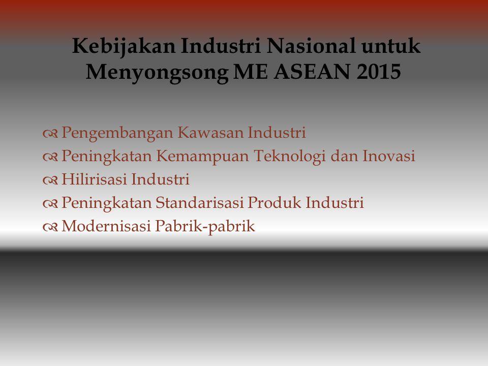  Pengembangan Kawasan Industri  Peningkatan Kemampuan Teknologi dan Inovasi  Hilirisasi Industri  Peningkatan Standarisasi Produk Industri  Modernisasi Pabrik-pabrik Kebijakan Industri Nasional untuk Menyongsong ME ASEAN 2015
