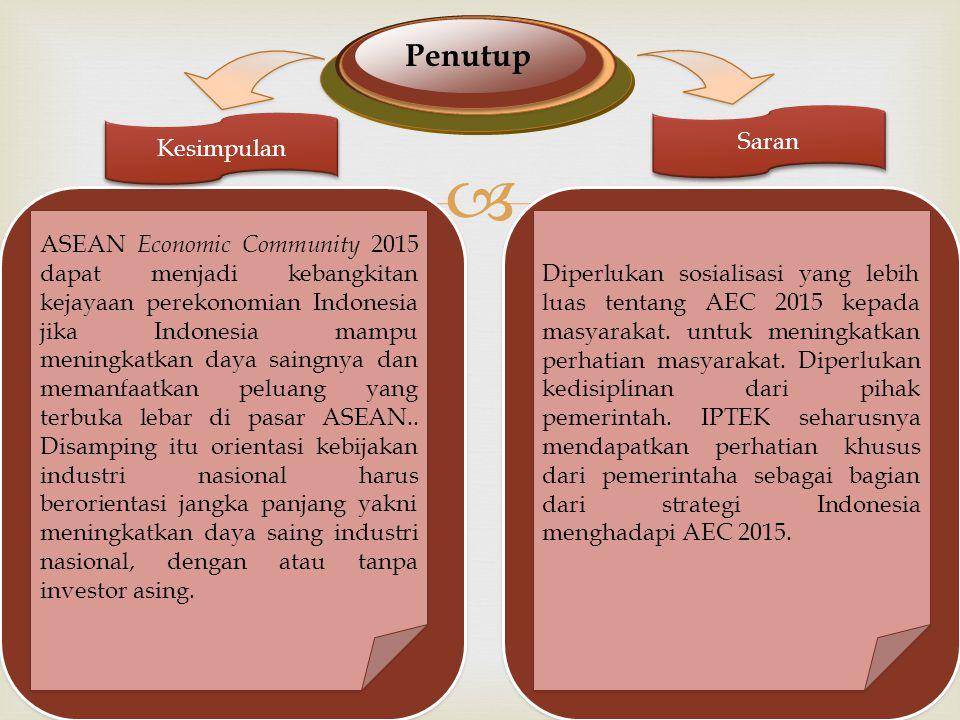  Penutup Kesimpulan Saran ASEAN Economic Community 2015 dapat menjadi kebangkitan kejayaan perekonomian Indonesia jika Indonesia mampu meningkatkan daya saingnya dan memanfaatkan peluang yang terbuka lebar di pasar ASEAN..
