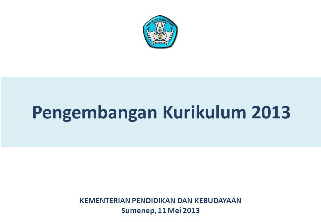 Pengembangan Kurikulum 2013 KEMENTERIAN PENDIDIKAN DAN KEBUDAYAAN Sumenep, 11 Mei 2013