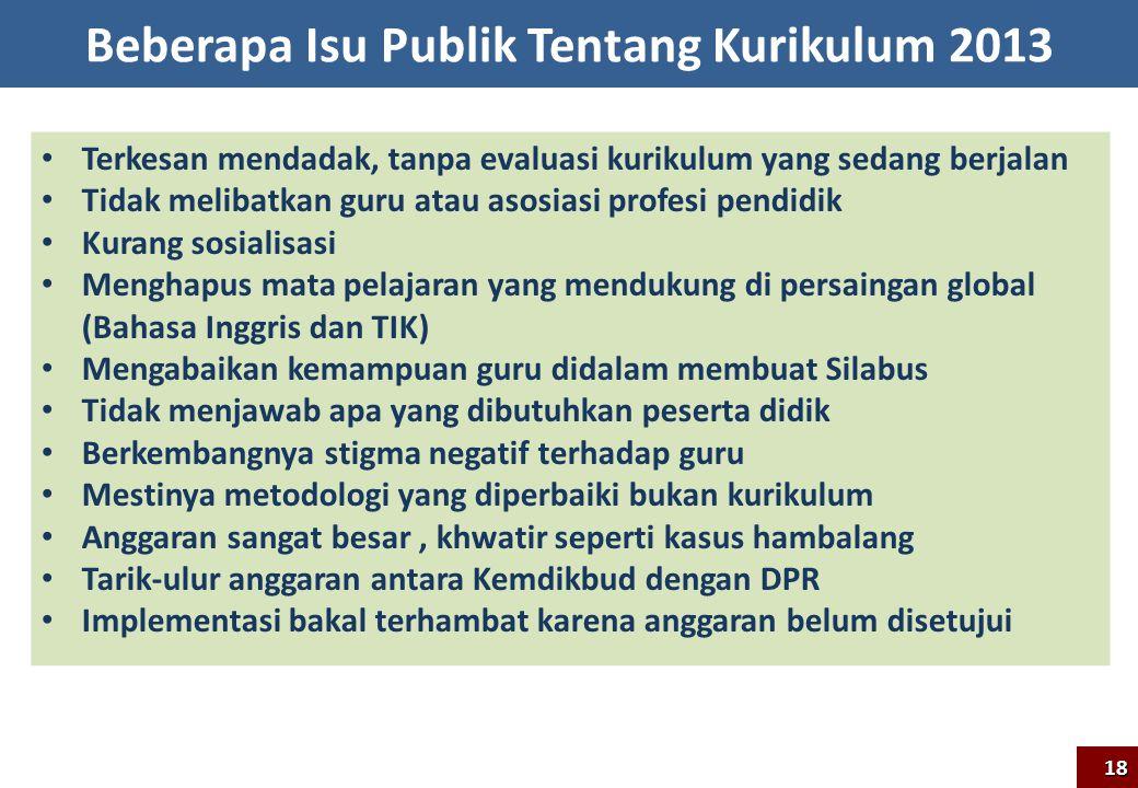 Beberapa Isu Publik Tentang Kurikulum 2013 Terkesan mendadak, tanpa evaluasi kurikulum yang sedang berjalan Tidak melibatkan guru atau asosiasi profes