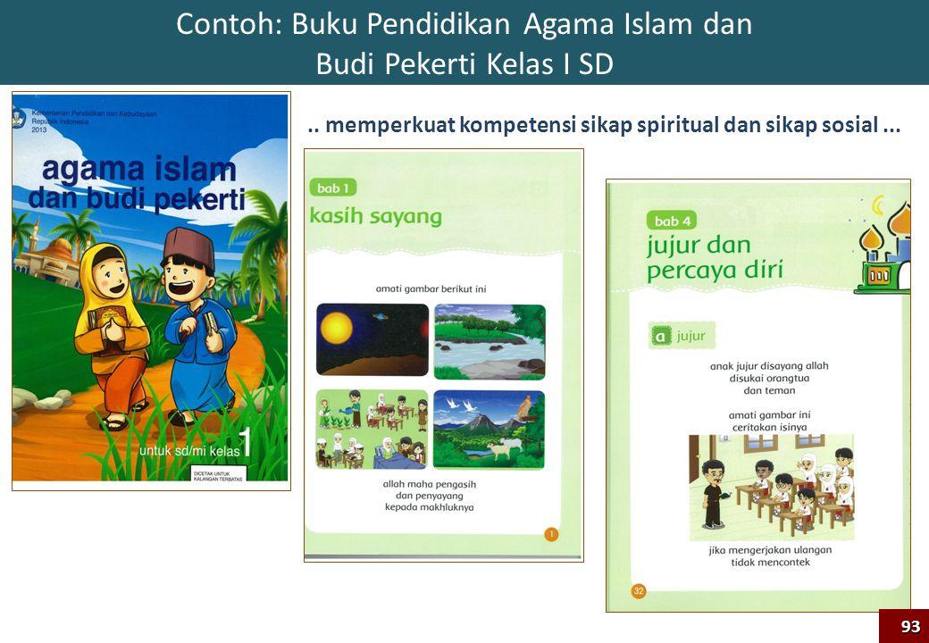Contoh: Buku Pendidikan Agama Islam dan Budi Pekerti Kelas I SD93.. memperkuat kompetensi sikap spiritual dan sikap sosial...