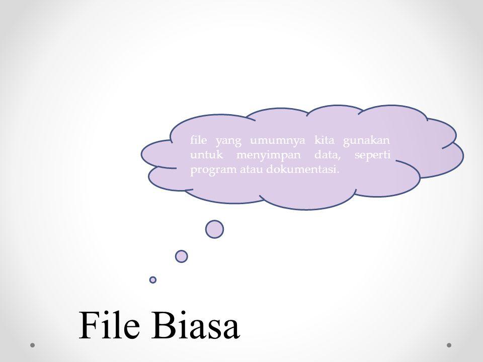 File Biasa file yang umumnya kita gunakan untuk menyimpan data, seperti program atau dokumentasi.