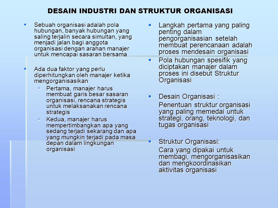 DESAIN INDUSTRI DAN STRUKTUR ORGANISASI  Sebuah organisasi adalah pola hubungan, banyak hubungan yang saling terjalin secara simultan, yang menjadi j