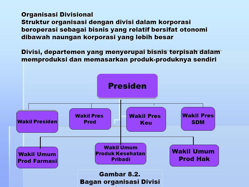 Organisasi Divisional Struktur organisasi dengan divisi dalam korporasi beroperasi sebagai bisnis yang relatif bersifat otonomi dibawah naungan korpor