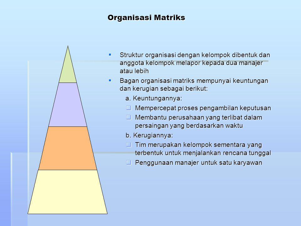 Organisasi Matriks  Struktur organisasi dengan kelompok dibentuk dan anggota kelompok melapor kepada dua manajer atau lebih  Bagan organisasi matrik